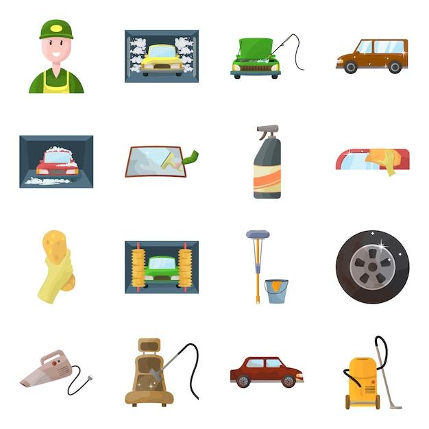 Ícone de lavagem de carro objeto isolado e cuidados. coleção carwash e serviço estoque símbolo. Vetor Premium