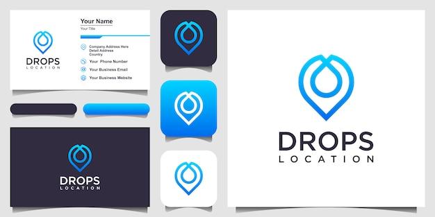 Ícone de linha de pino de localização de gota de água. sinal de estilo linear. design de logotipo e cartão de visita Vetor Premium