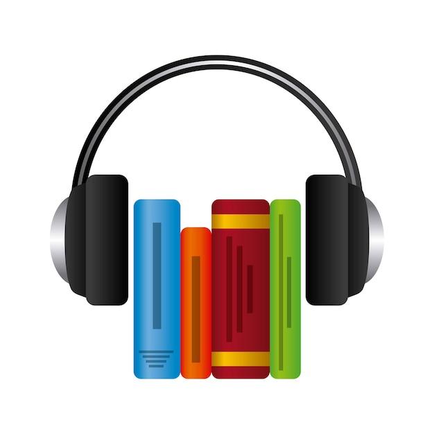 Vetor Premium   Ícone de livro e fone de ouvido. design de audiolivros.  gráfico de vetor