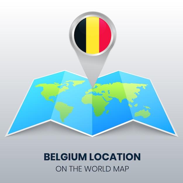 Ícone de localização da bélgica no mapa do mundo, ícone de alfinete redondo da bélgica Vetor Premium