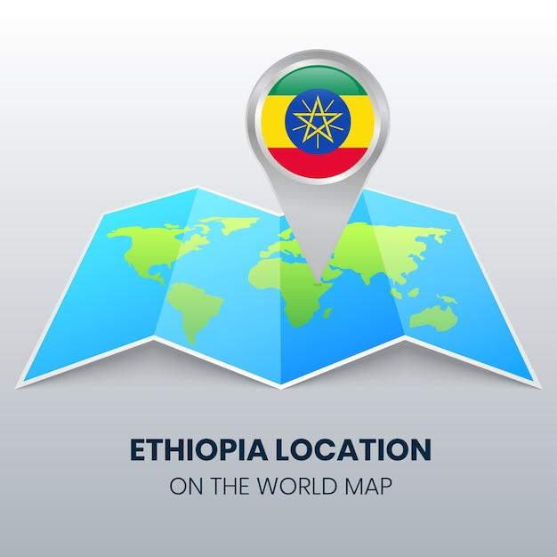 Ícone de localização da etiópia no mapa mundial Vetor Premium