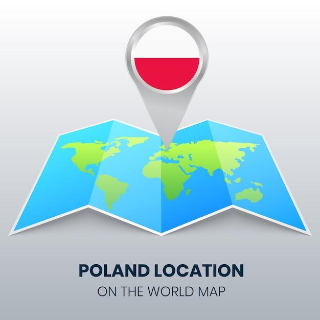 Ícone de localização da polônia no mapa do mundo Vetor Premium