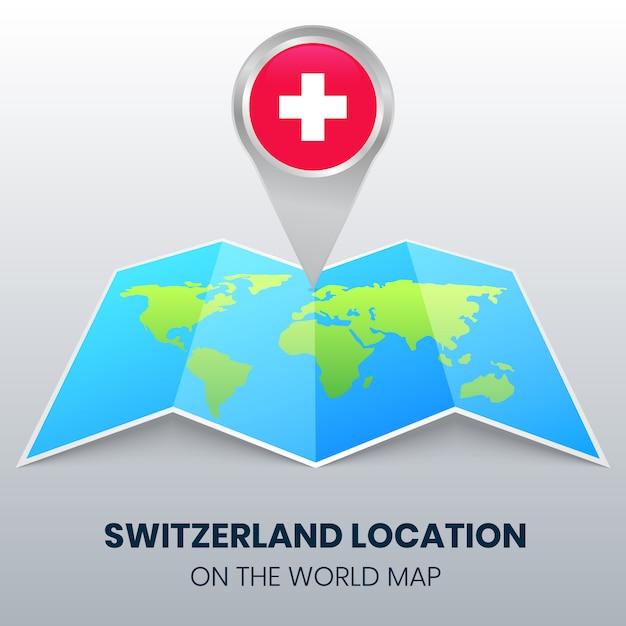 Ícone de localização da suíça no mapa do mundo, ícone de alfinete redondo da suíça Vetor Premium
