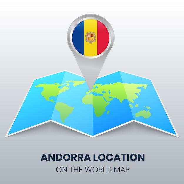 Ícone de localização de andorra no mapa do mundo Vetor Premium