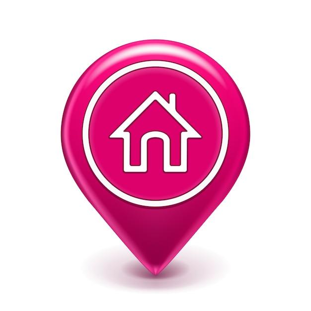 Ícone de localização de casa isolado Vetor grátis
