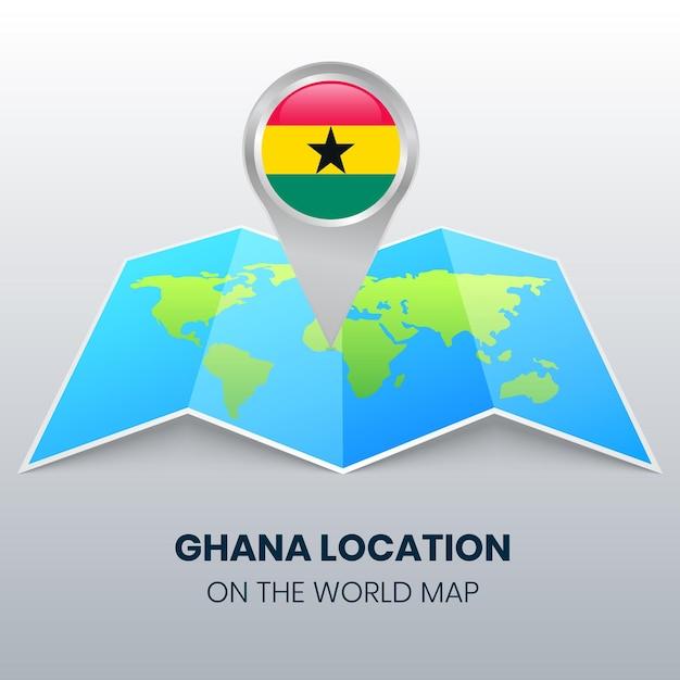 Ícone de localização de gana no mapa mundial Vetor Premium