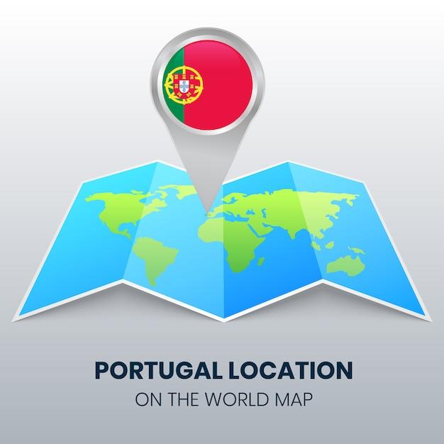 Ícone de localização de portugal no mapa do mundo Vetor Premium