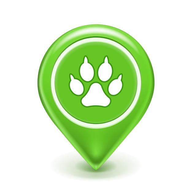 Ícone de localização do animal de estimação com impressão de pata Vetor grátis