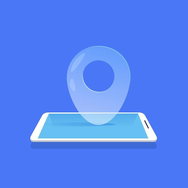 Ícone de localização geográfica aplicação móvel navegador fundo azul plano Vetor Premium