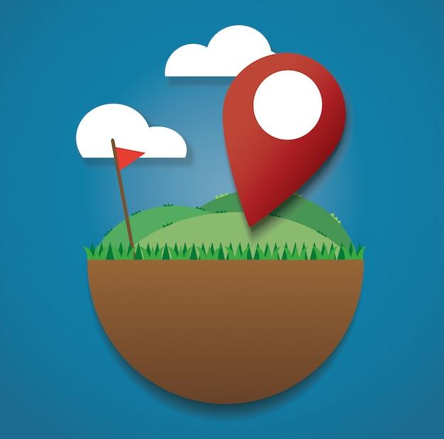 Ícone de localização no campo verde Vetor Premium