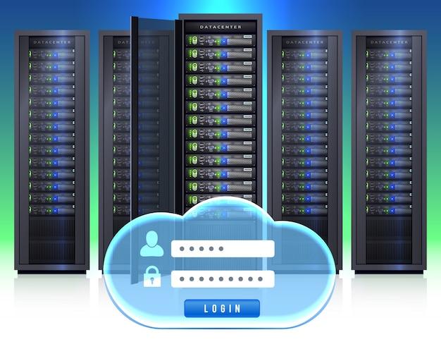 Ícone de login realista de racks de servidor Vetor grátis