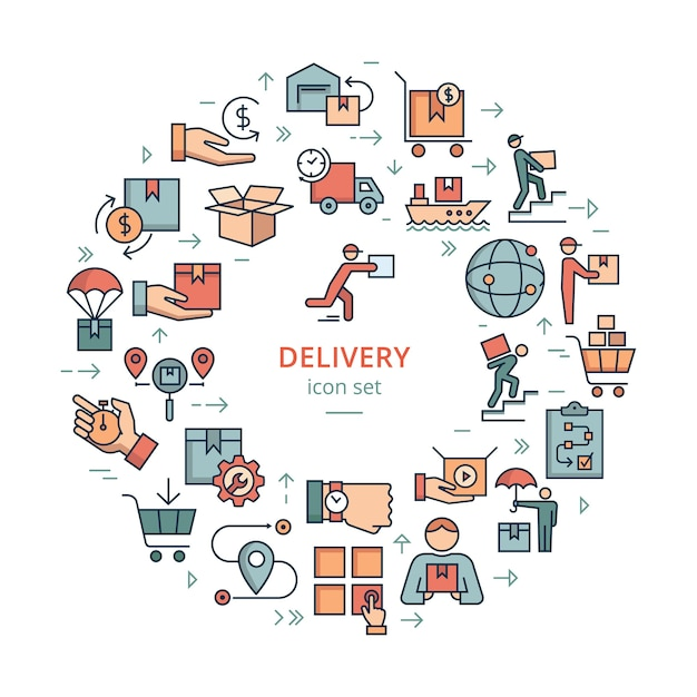 Ícone de logística de entrega de modelo circular definido em estilo simples. carrinho de bagagem, rota, dinheiro, 24 horas, transporte marítimo, container de carga, entrega de carro, armazém. Vetor Premium