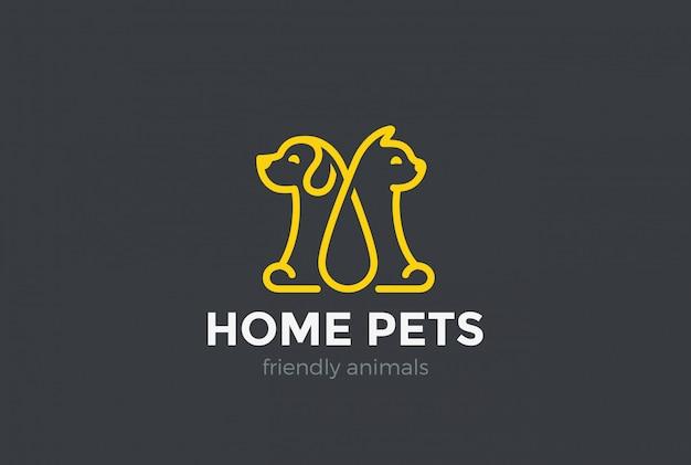 Ícone de logotipo de animais de estimação em casa. Vetor grátis