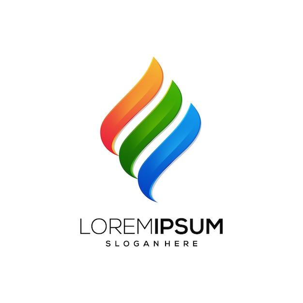 Ícone de logotipo de fogo de energia Vetor Premium