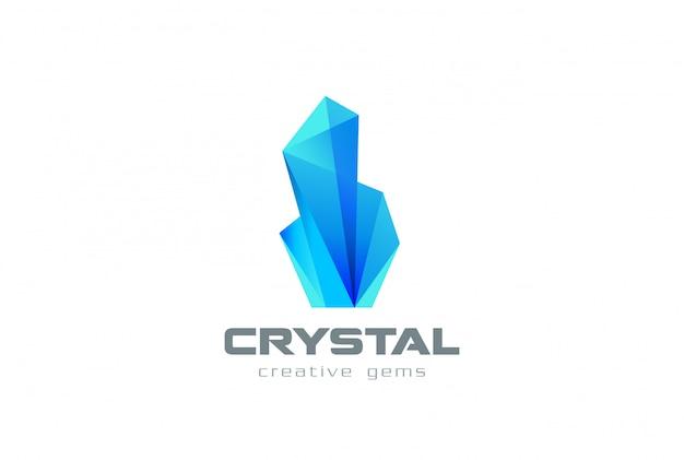 Ícone de logotipo de gemas de cristal. Vetor grátis