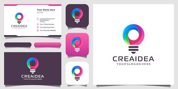 Ícone de logotipo de lâmpada bulbo criativo e design de cartão. lâmpada digital e ideia de tecnologia Vetor Premium