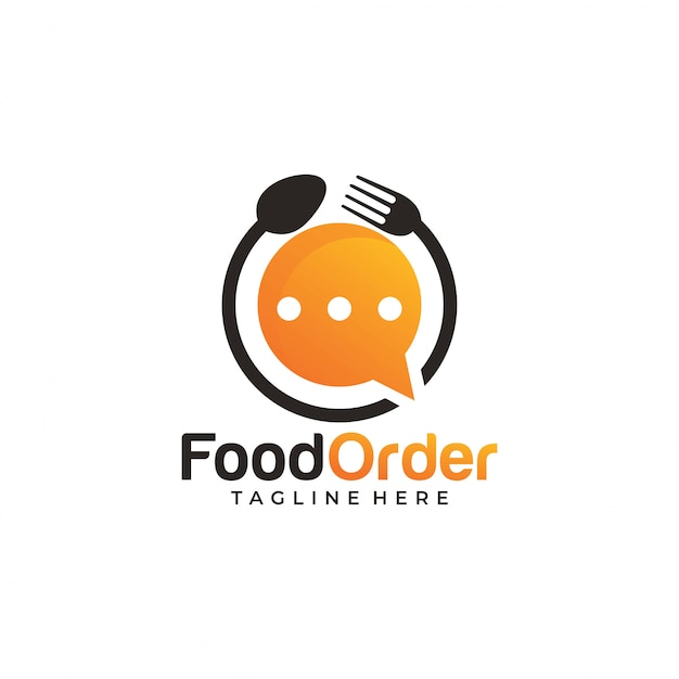 Ícone de logotipo de ordem de comida on-line Vetor Premium