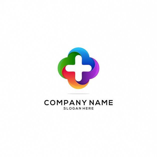 Ícone de logotipo de saúde e cuidados colorfull Vetor Premium