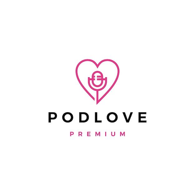 Ícone de logotipo do mic amor podcast Vetor Premium