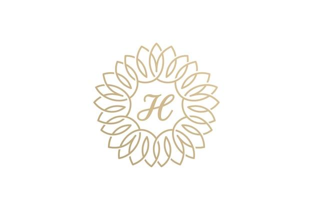 Ícone de logotipo vintage florescer. estilo linear Vetor grátis