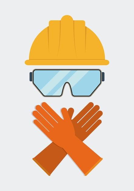Ícone de luvas de óculos de capacete amarelo Vetor Premium