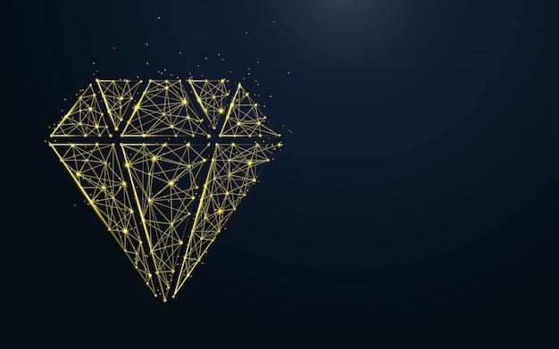 Ícone de luxo diamante de linhas e partículas Vetor Premium