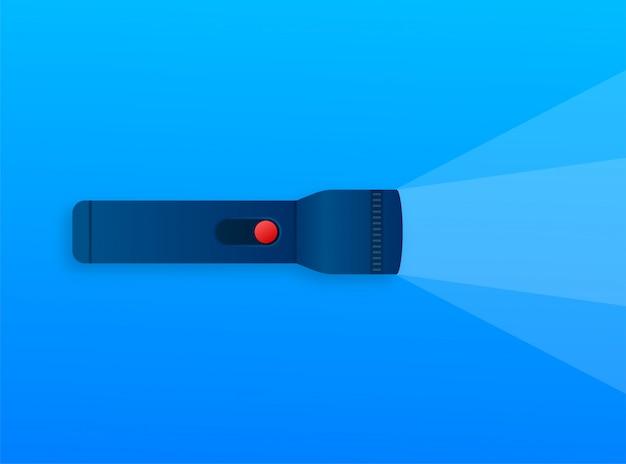 Ícone de luz da lâmpada. feixe de luz brilhante. linterna moderna, ótimo design para qualquer finalidade. ilustração das ações. Vetor Premium