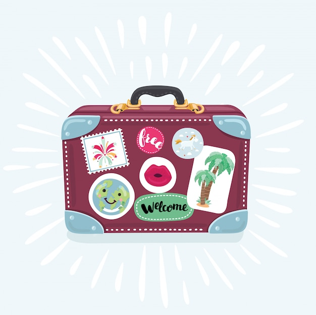 Ícone de mala em estilo cartoon em fundo branco. mala para ilustração de viagem Vetor Premium