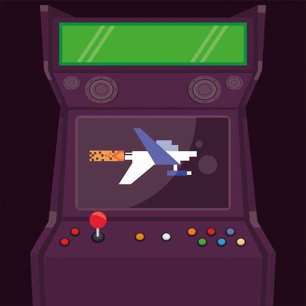 Ícone de máquina retro pixelizada de videogame Vetor Premium