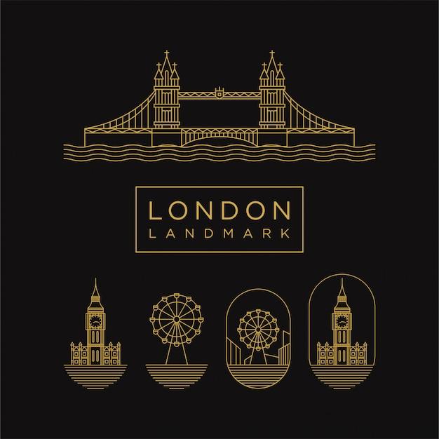 Ícone de marco de londres dourado com estilo de linha Vetor Premium