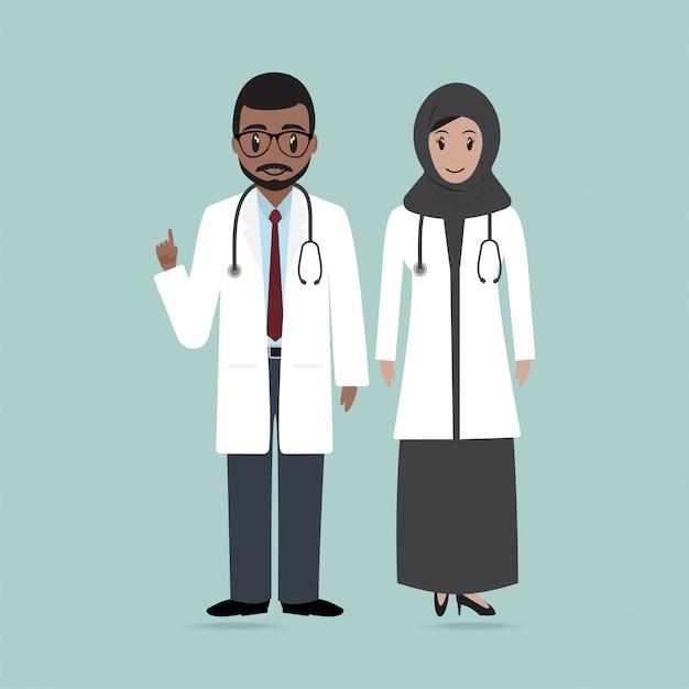 Ícone de médico e enfermeira muçulmano Vetor Premium