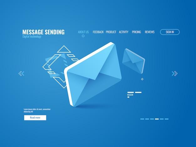 Ícone de mensagem, conceito de envio de e-mail, publicidade on-line, modelo de página da web Vetor grátis