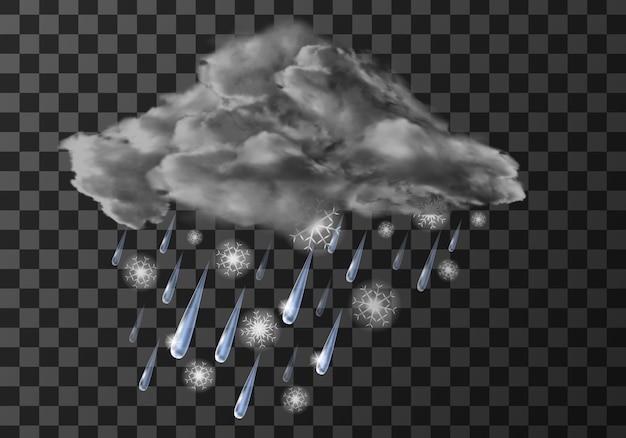 Ícone de meteo tempo chuva, gotas de água caindo na transparente Vetor grátis