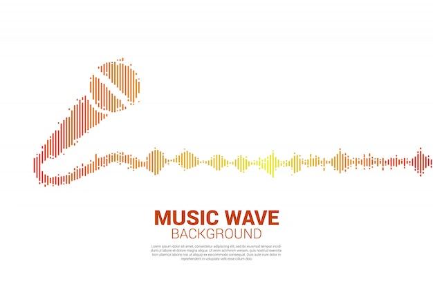 Ícone de microfone de onda sonora fundo do equalizador. Vetor Premium