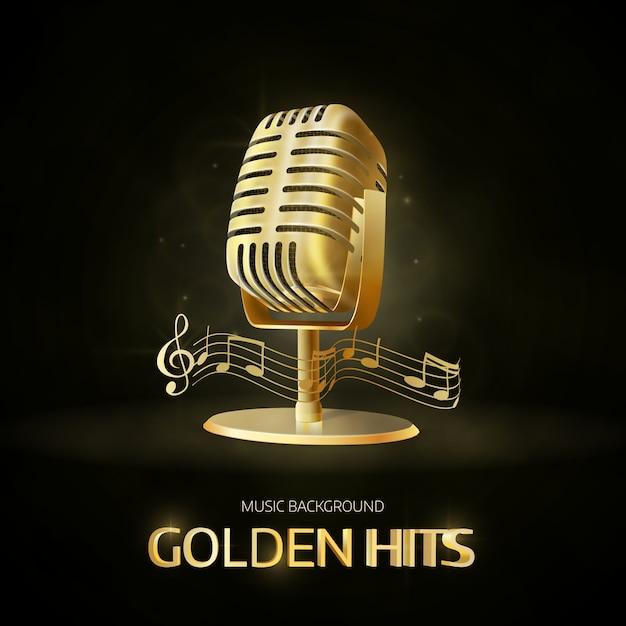 Ícone de microfone vintage velho dourado Vetor Premium