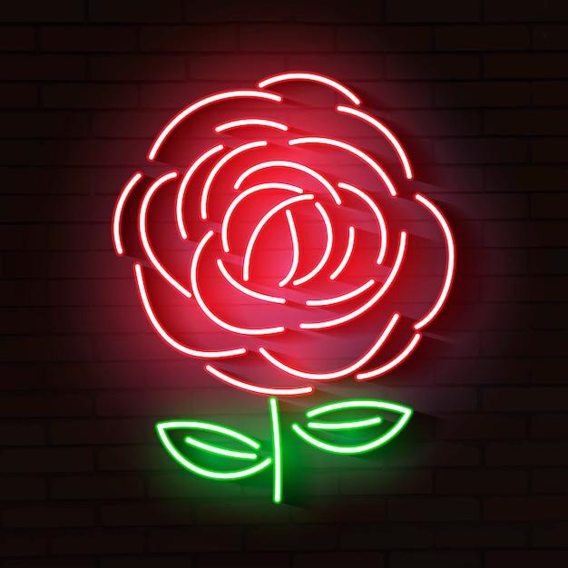 Ícone de néon brilhante rosa vermelha Vetor Premium
