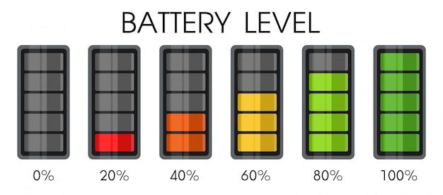 Ícone de nível de energia na bateria do smartphone. Vetor Premium