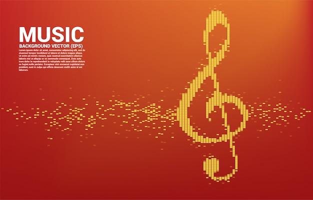 Ícone de nota chave sol onda sonora equalizador de música de fundo Vetor Premium