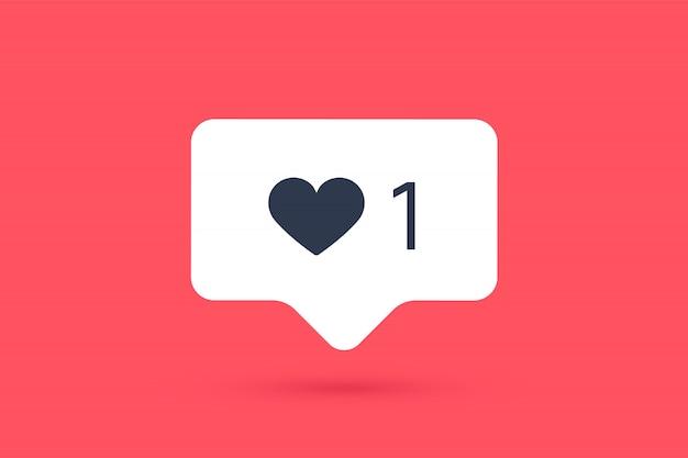 Ícone de notificações como bolha do discurso. como ícone com coração Vetor Premium