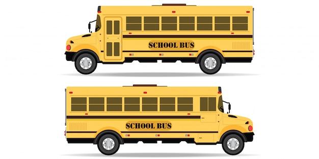 Ícone de ônibus escolar amarelo isolado no fundo branco. Vetor Premium