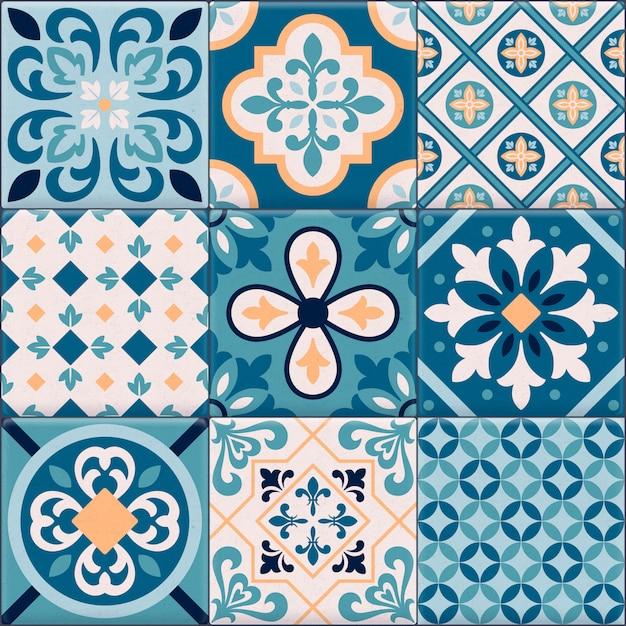 Ícone de ornamentos de azulejos coloridos e realistas para conjunto de criação de padrão diferente Vetor grátis