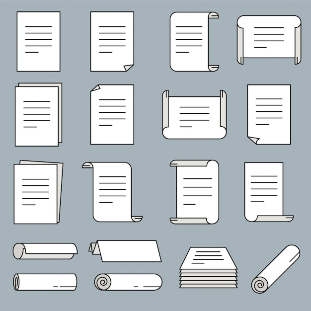 Ícone de papel definido no estilo de linha fina. ilustração vetorial. Vetor Premium