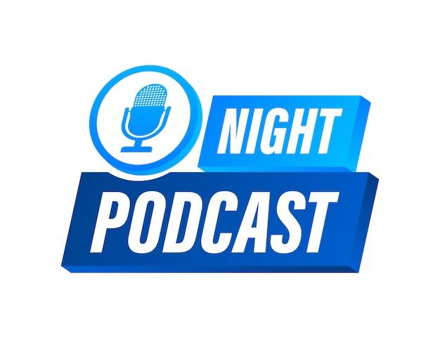 Ícone de podcast de noite, símbolo em estilo apartamento isométrico isolado na cor de fundo. ilustração das ações. Vetor Premium