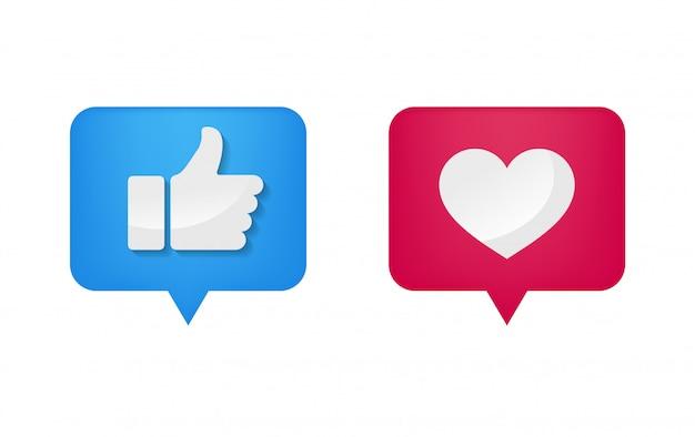 Ícone de polegar e forma de coração na mídia social Vetor Premium