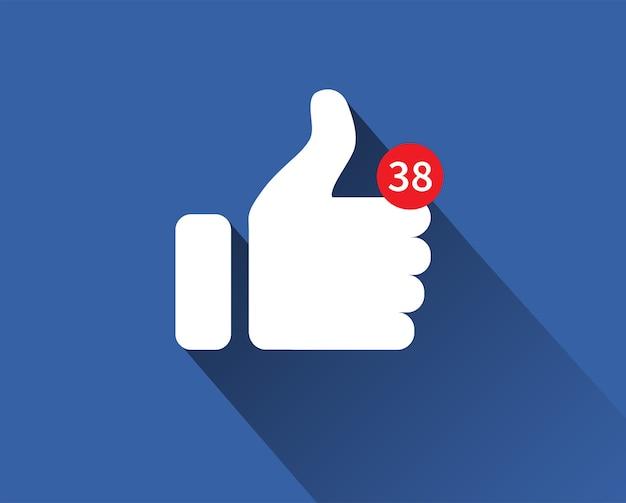 Ícone de polegar para cima. notificação como ícone. Vetor Premium