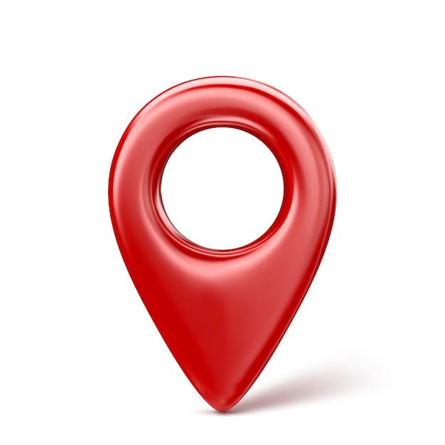 Ícone de ponteiro vermelho realista 3d mapa pin. isolado. Vetor Premium