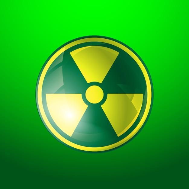 Ícone de radiação, símbolo de radioatividade, isolado no fundo verde. Vetor Premium