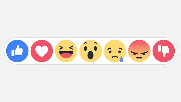 Ícone de reações de redes sociais emoji Vetor Premium