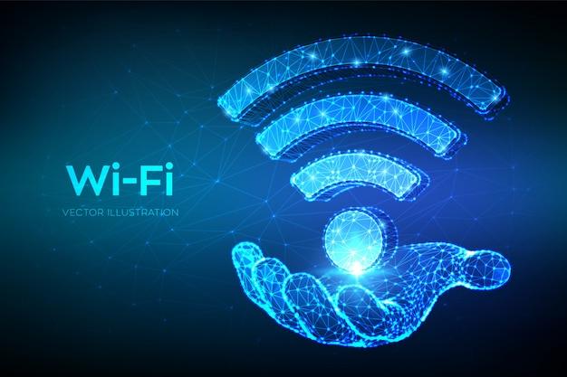 Ícone de rede wi-fi. resumo de baixo poli wi fi assinar na mão. Vetor Premium