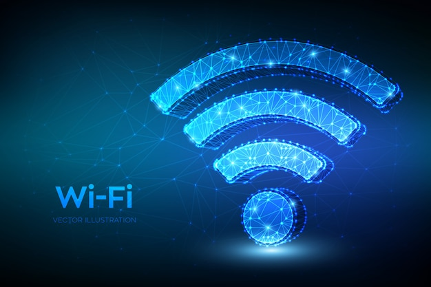 Ícone de rede wi-fi. sinal de wi fi abstrata poligonal baixa. Vetor Premium